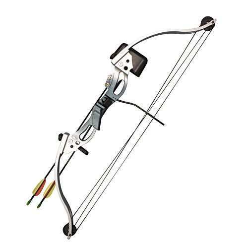 SAS 18-28 lbs Youth Compound Bow Set - Silver/Blue RH