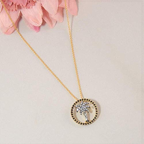 Vermeil Tree - SIVALYA Palm Tree Pendant Necklace in Gold Vermeil with Black and White CZ - Gift for Women