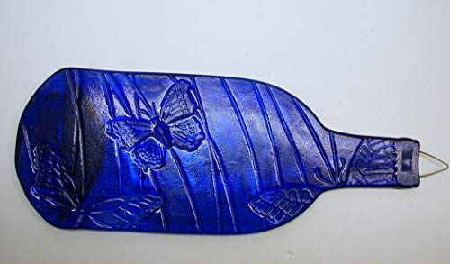 (Butterfly Embossed Cobalt Blue Wine Bottle UpCycled as Cheese Platter Serving Tray)