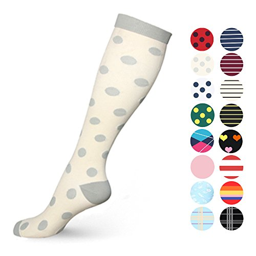 Color Mum (MUM'S MEMORY Graduated Compression Socks for Women and Men, Moderate Compression Stockings For Running, Crossfit, Travel- Suits, Nurse, Maternity Pregnancy, Shin Splints, Small/Medium, Cream Grey)