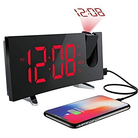 Alarm Clocks, (New Version)Pictek Projection Alarm Clock with FM Radio, 5-inch Dimmable Screen, Kids Clock Radio with Dual Alarms and Snooze Function, Digital Alarm Clock Projector with USB and Battery Backup for Bedroom YTGEHM126ABUS-CAAE1