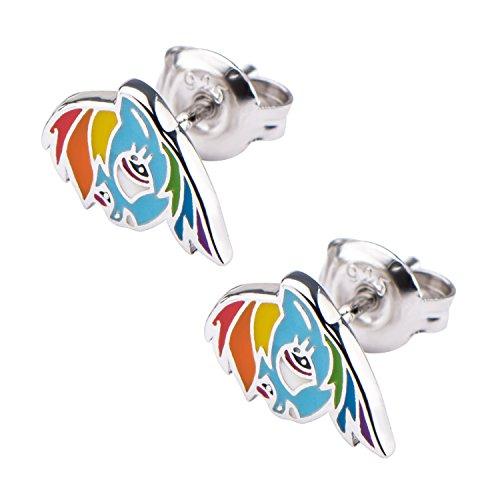 Pony Earring (Hasbro Jewelry My Little Pony Rainbow Dash Women's 925 Sterling Silver Stud Earrings)