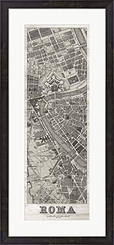 (Roma Map Panel in Wood by Wild Apple Portfolio Framed Art Print Wall Picture, Espresso Brown Frame, 17 x 36 inches)