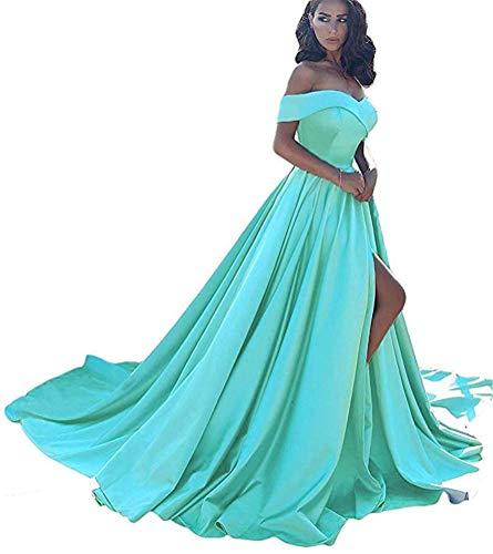 Prom Dresses Long Split Off Shoulder Satin A line Wedding Evening Dress for Women Formal Gyan-8 Size Cyan