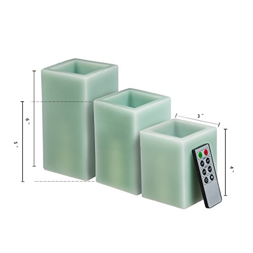 CEDAR HOME Battery Operated Flameless LED Wax Square Pillar Candle with Remote, Set of 3, Antique Teal by CEDAR HOME (Image #4)