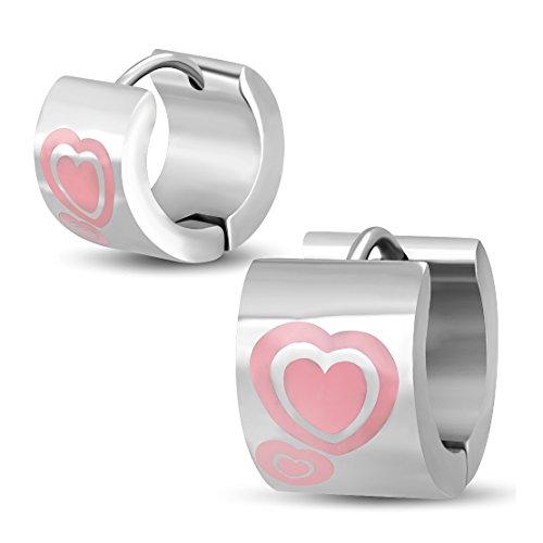 Stainless Steel Pink Enameled Double Love Heart Hoop Huggie Earrings (pair)