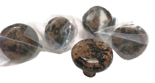 Granite 5 x 45mm Solid Granite Knob - Baltic Brown with Satin Nickel Base