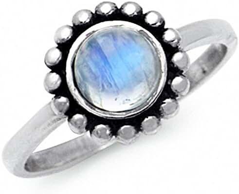 Natural Moonstone 925 Sterling Silver Bali/Balinese Style Ring