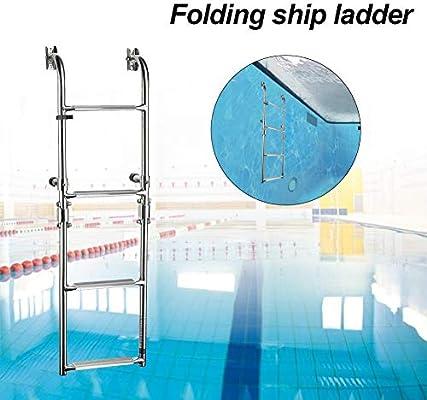josietomy - Escalera de barco de 4 peldaños de acero inoxidable para pontón de embarque, escalera plegable hacia abajo, barco, barco, escalera telescópica interior para nadar, plataforma extra ancha: Amazon.es: Hogar