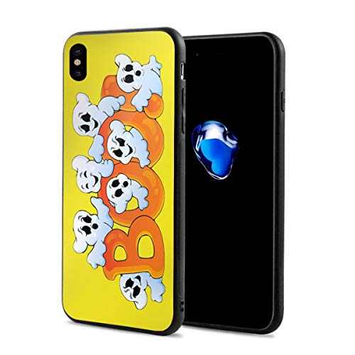 King Dare Happy Halloween iPhone Xs Case/iPhone X Case Soft TPU Shell Full Protective Bumper Anti-Scratch Case Enhanced Grip Protective Defender Cover ()