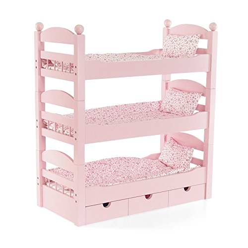 18 Inch Doll Furniture | 3 Single Stackable Doll Beds in One! Triple Bunk Bed and Doll Clothes Storage Drawer | Fits 18