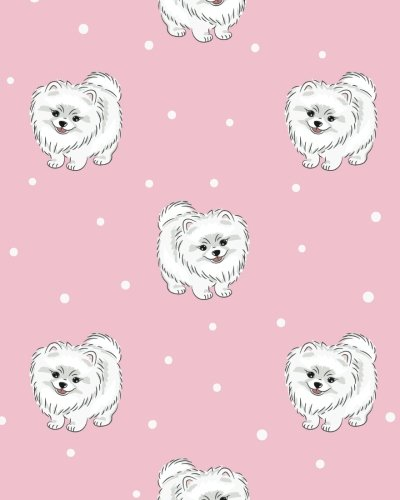 White Pomeranian - Dotted Grid: Cute White Pomeranian Puppy On Pink Notebook Dotted Grid 100 pages (8 x 10 inches)