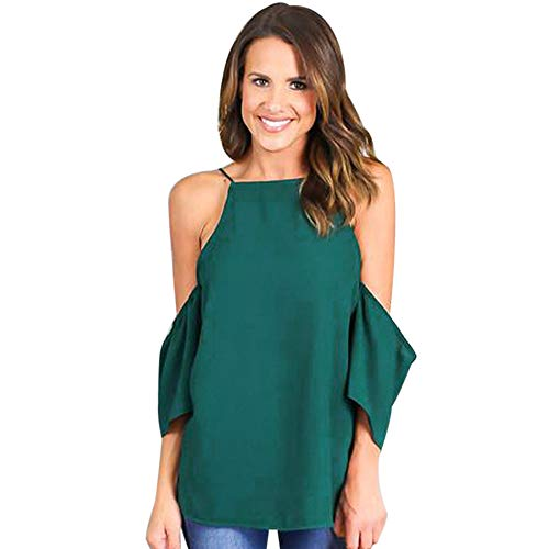 PASATO 2019 New Hot!Women Sexy Summer Casual Sling Shirt Off Shoulder Three Quarter Sleeve Shirts Blouse Tops T-Shirt(Green,S=US:XS)