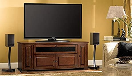 Bellu0027O PR33 Espresso Finished Audio Video Cabinet For 32 65 Inch Dark Brown