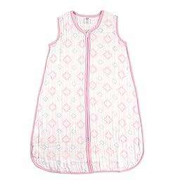 Hudson Baby Muslin Sleeping Bag, Pink Damask, 6-12 Months