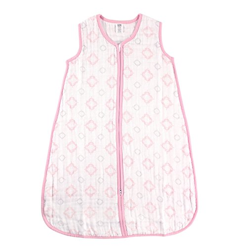 Hudson Baby Wearable Safe Sleep Muslin Sleeping Bag, Pink Damask, 12-18 Months