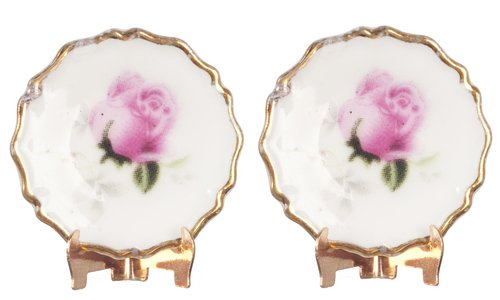Dollhouse Miniature 1:12 Scale 2 Pc Pink Rose Display Plates SET #G7226 TOWN SQUARE