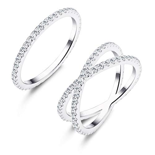 Udalyn 2 Pcs Stacking Rings Women Girls X Criss Cross Ring Eternity Bands Engagement - Ring Wedding Set Cross