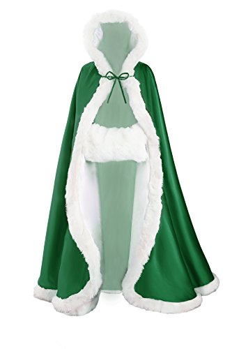Wedding Cape Hooded Cloak for Bride Winter Reversible with Fur Trim Free Hand Muff Full Length 55 inches Moss (Faux Fur Trimmed Green Cape)