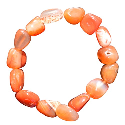 CHARGED Carnelian Agate Crystal Bracelet Tumble Polished Stretchy (BOLD HEALING ENERGY - ENHANCES PASSION, LOVE, & DESIRE - BRINGS EMPOWERING STIMULATING JOY) [REIKI] by ZENERGY GEMS