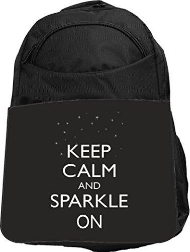 Rikki Knight UKBK Keep Calm and Sparkle On Black Color Te...