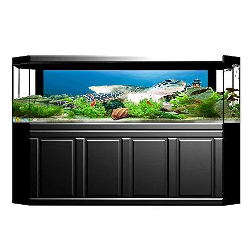 (JiahongPan Fish Tank Poster Aquarium Background Backdrop PVC Adhesive Green and Lion on Tropical Reef Chelonia Snorkeling Blue Green White Sticker Wallpaper Fish Tank L23.6 x H19.6)