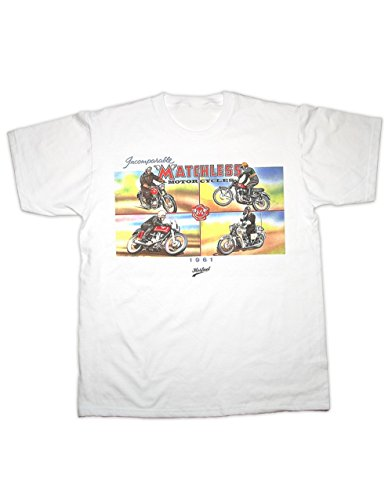 Hotfuel Men's Matchless Motorcycles 1961 Print T-Shirt Large White Clubman Shirt