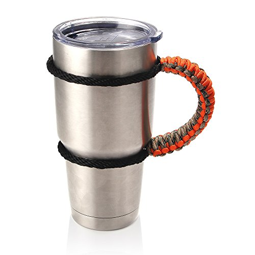 ANEWISH Handmade Paracord Cup Handle for 30 oz. Tumbler Holder Woven Carrier of Water Cup Durable Washable for Outdoor Sports Car Traveling (Orange)