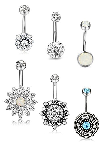 - Jstyle 6 Pcs 14G Stainless Steel Belly Button Rings for Women Girls Navel Rings CZ Created Opal Body Piercing Jewelry S