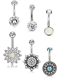 6 Pcs 14G Stainless Steel Belly Button Rings for Women Girls Navel Rings CZ Created Opal Body Piercing Jewelry