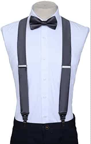 68a15d432 Marino Suspenders and Bow Tie Set - Dress Suspenders For Men - Silk-Like  Pants