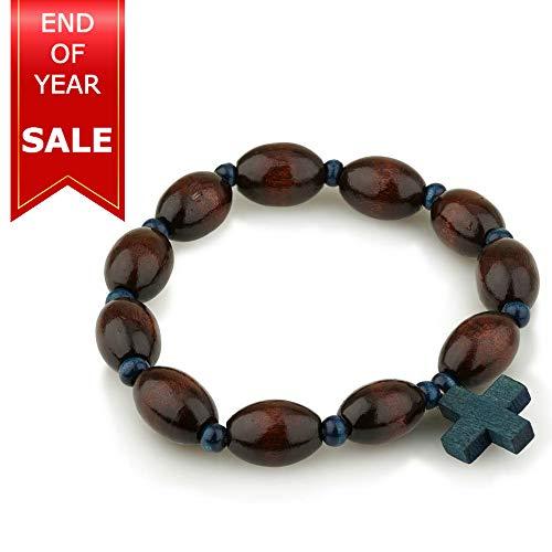 Marina Jewellery Genuine Wood Polished 10mm Bead Rosary Bracelet with Blue Wooden Cross Pendant