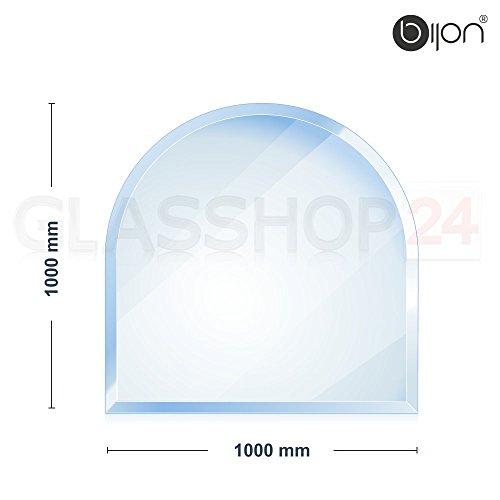 6mm Kamin Glasbodenplatte - Rundbogen 1000 x 1000mm - 18mm Facette // kostenloser Versand