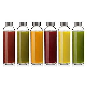 6 Pack - 16 oz. Glass Bottles with Caps for Water, Kombucha, Smoothies, Juice, Reusable, by California Home Goods