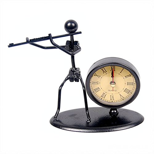 (Classic Vintage Old Fashion Iron Art Musician Clock Figure Ornament For Home Office Desk Decoration Gift (C63 Flute))