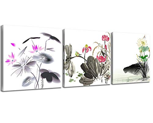 NAN Wind Small Size Traditional Chinese Painting of Lotus Flowers Decor Canvas Prints 3 Pcs Watercolor Blossom Wall Art 12x12inches 3pcs/Set Stretched and Framed Ready to Hang for Home Decor - Chinese Flower Art Lotus