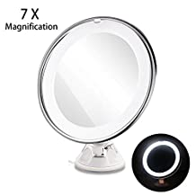 RUIMIO Lighted Vanity Mirror with 7X Magnification and Suction Base