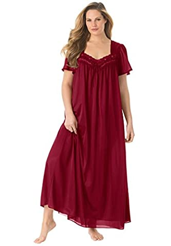 Only Necessities Women's Plus Size Full-Sweep Nightgown Rich Burgundy,4X - Full Sweep Gown