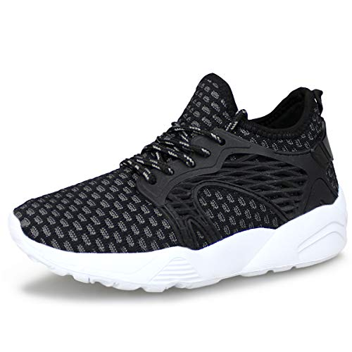 (Hawkwell Kids Knit Running Shoes Boys Girls Breathable Lightweight Walking Sneakers(Toddler/Little Kid),Black White Knit,13 M US)