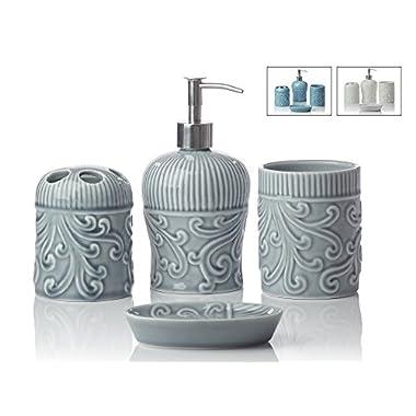 Designer 4-Piece Ceramic Bath Accessory Set | Includes Liquid Soap or Lotion Dispenser w/ Premium Metal Pump, Toothbrush Holder, Tumbler, Soap Dish | Vintage Floral | Contour Grey