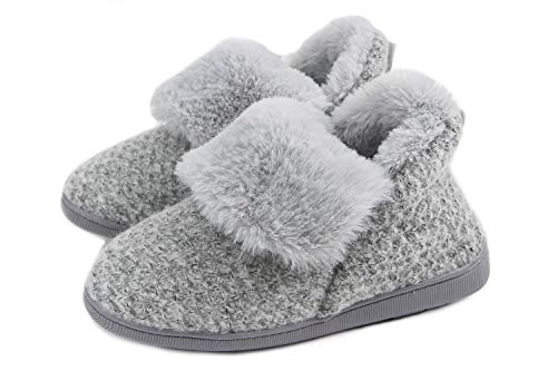 LongBay Women's Cozy Memory Foam Cable Knit Bootie Slippers Plush Faux Fur House Shoes Grey ()