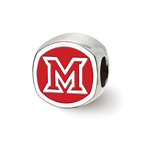 Cushion Shaped Bead (Jewels By Lux Sterling Silver LogoArt Miami U Block M Cushion Shaped Double Logo Bead)