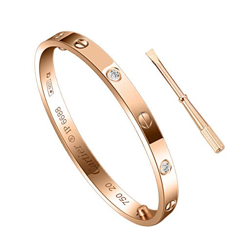 SHIRIA Unisex Love Bracelet Bracelet Stainless Steel Bracelet Couple Bracelet Gift & Screwdriver Bracelet Valentine's Day Wedding (Rose Gold with Diamond, - Gold Bracelets Wedding Bangle