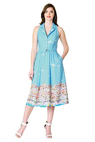 (eShakti FX Landscape Print Crepe Belted Shirtdress 3X-26W Sky Blue Multi)