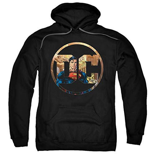 Superman DC Comics Logo Pullover Hoodie Sweatshirt & Stickers (XX-Large)