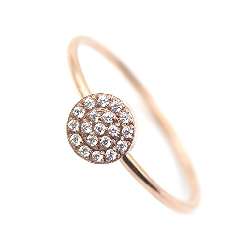 Lemon Grass 14K Rose Gold Plated Minimalist CZ Simulated Diamond Stacking Circle Disc Stackable ()