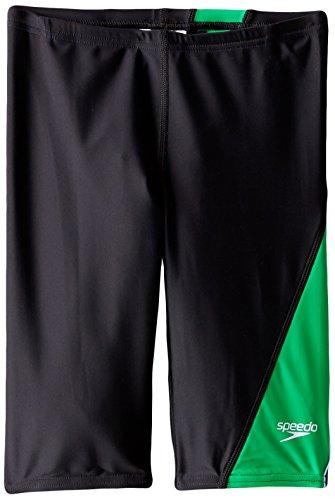 Speedo Big Boys' PowerFLEX Eco Revolve Splice Jammer Swimsuit, Green, - Eco Swimwear