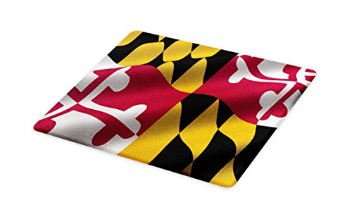 Lunarable American Cutting Board, Flag of The US State of Maryland Closeup 3D Style Picture Waving America National, Decorative Tempered Glass Cutting and Serving Board, Small Size, Multicolor