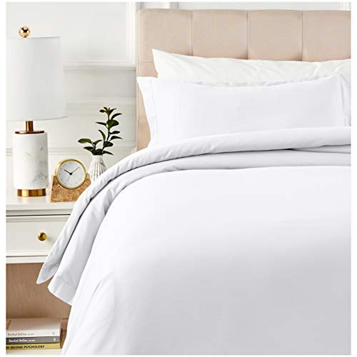 AmazonBasics 400 Thread Count Cotton Duvet Cover Set with Sateen Finish - Twin/Twin XL, White ()