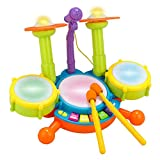 Futureshine Kids Drum Set for Kids Electric Toys Toddler Musical Instruments Playset Flash Light Toy with Adjustable Microphone,Kids Toys for 2-12 Year olds Boys and Girls